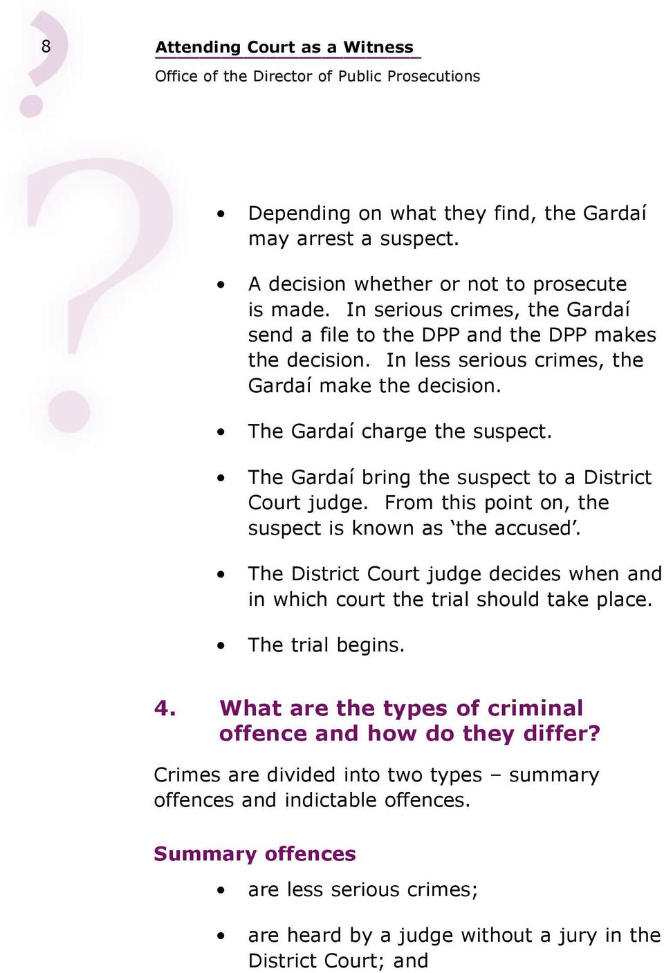 The Gardaí bring the suspect to a District Court judge. From this point on, the suspect is known as the accused.