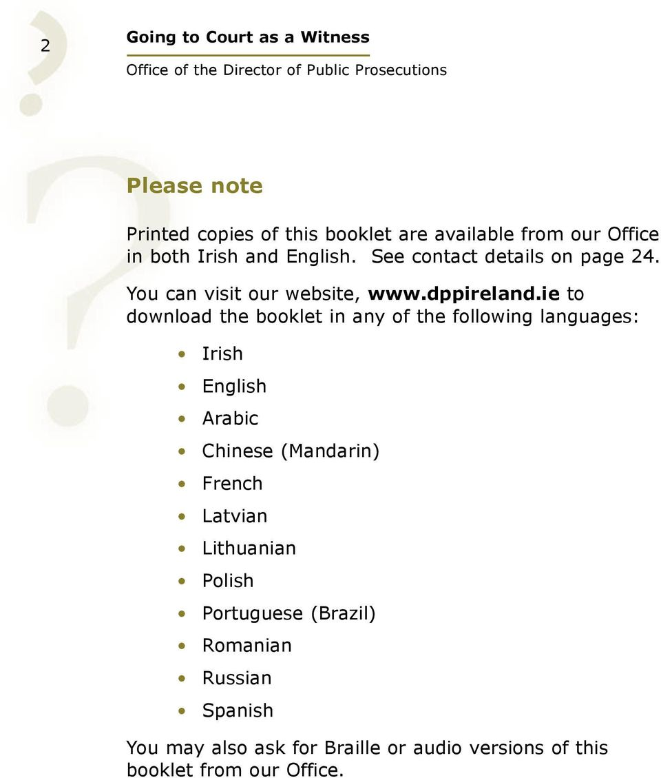 ie to download the booklet in any of the following languages: Irish English Arabic Chinese (Mandarin) French