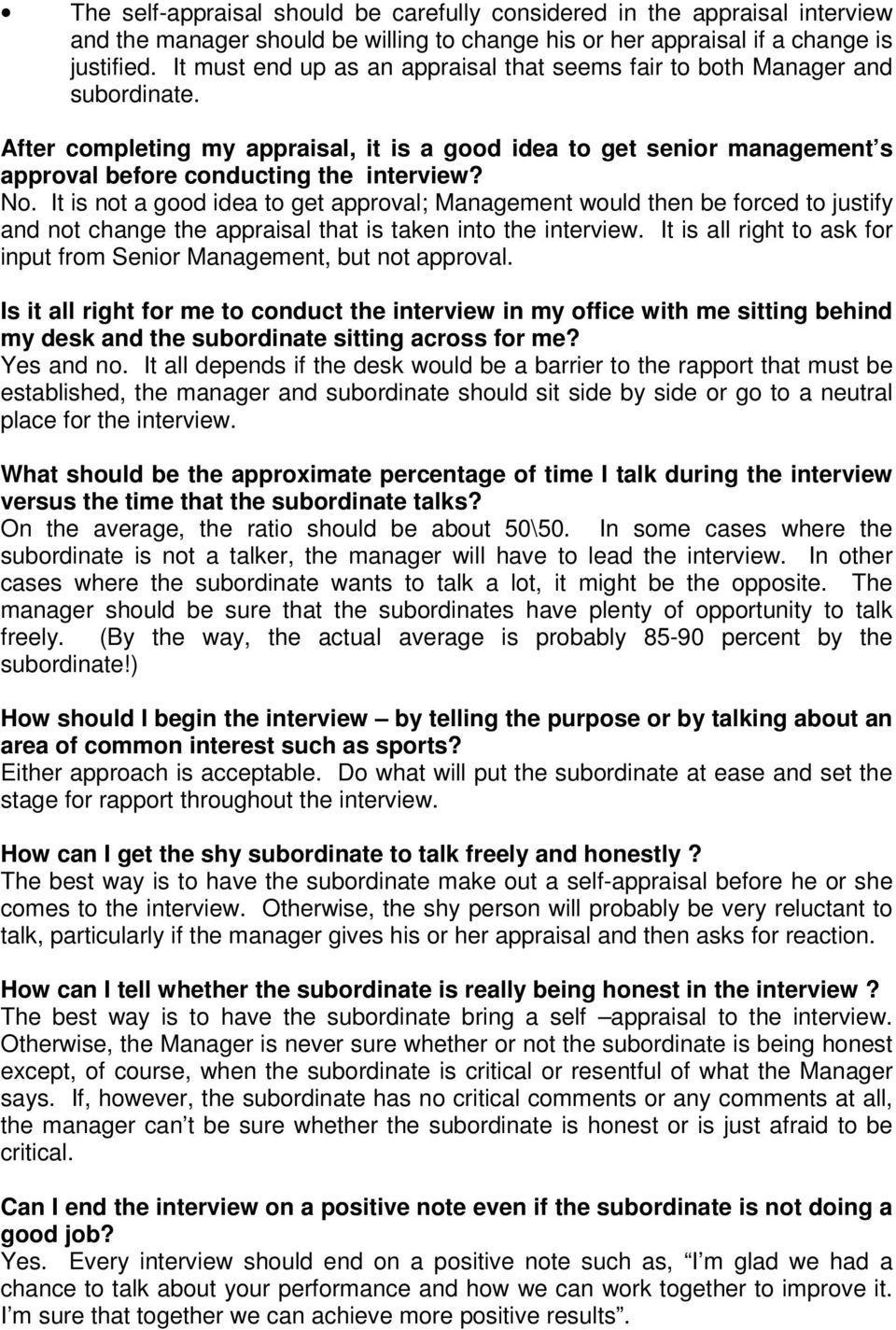No. It is not a good idea to get approval; Management would then be forced to justify and not change the appraisal that is taken into the interview.
