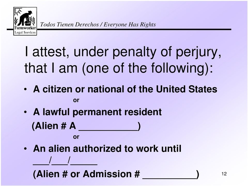 States or A lawful permanent resident (Alien # A ) or An