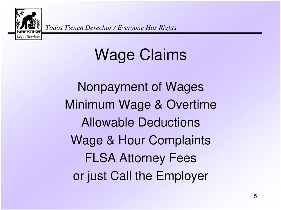 Deductions Wage & Hour Complaints