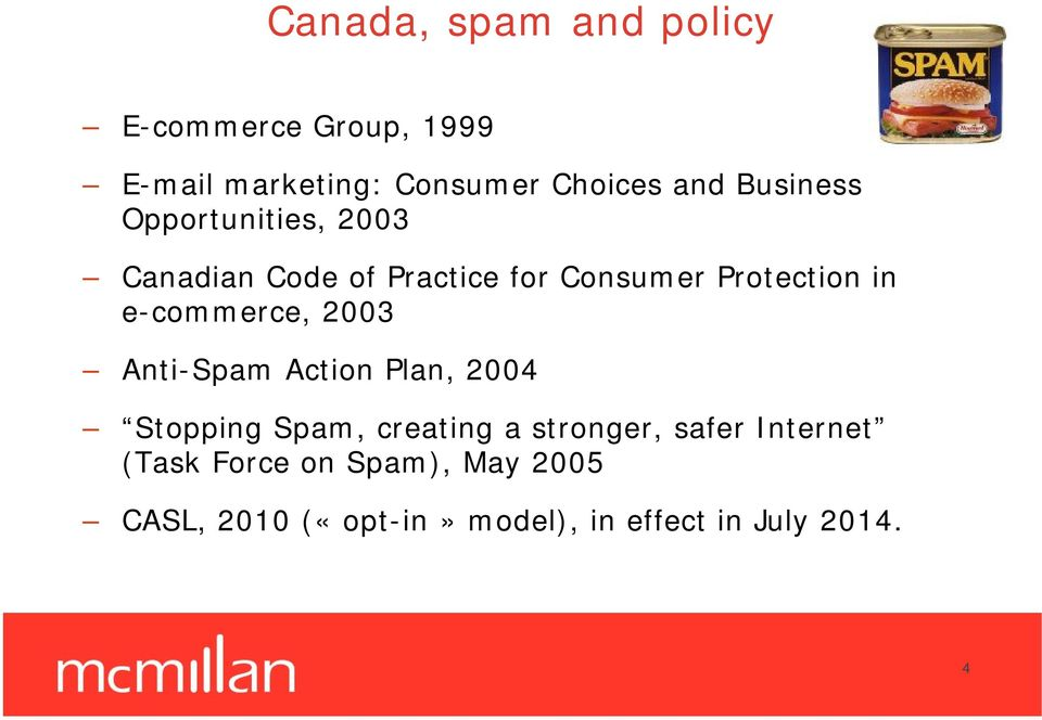 e-commerce, 2003 Anti-Spam Action Plan, 2004 Stopping Spam, creating a stronger, safer