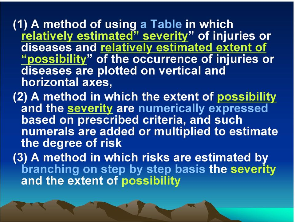 possibility and the severity are numerically expressed based on prescribed criteria, and such numerals are added or multiplied to