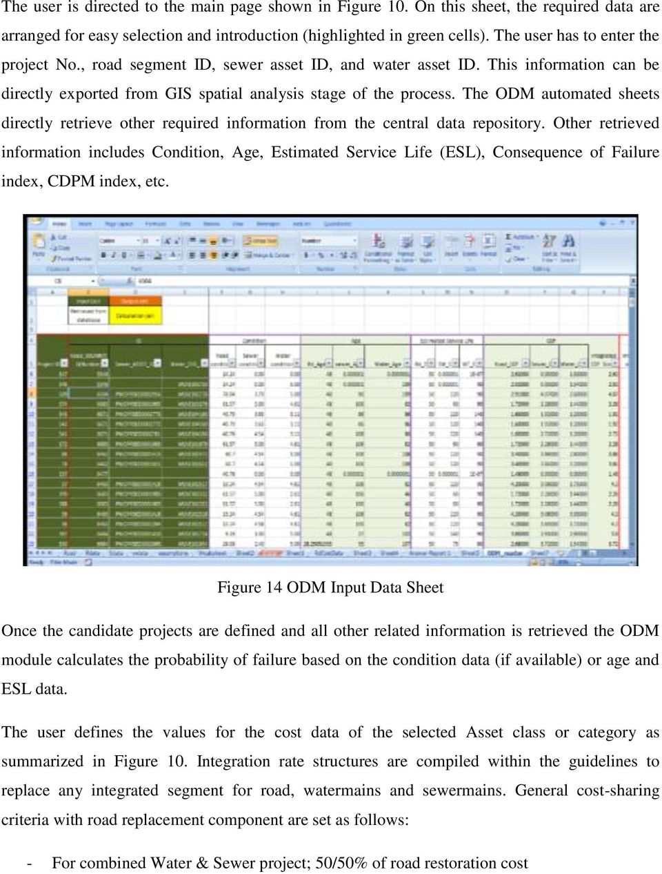 The ODM automated sheets directly retrieve other required information from the central data repository.