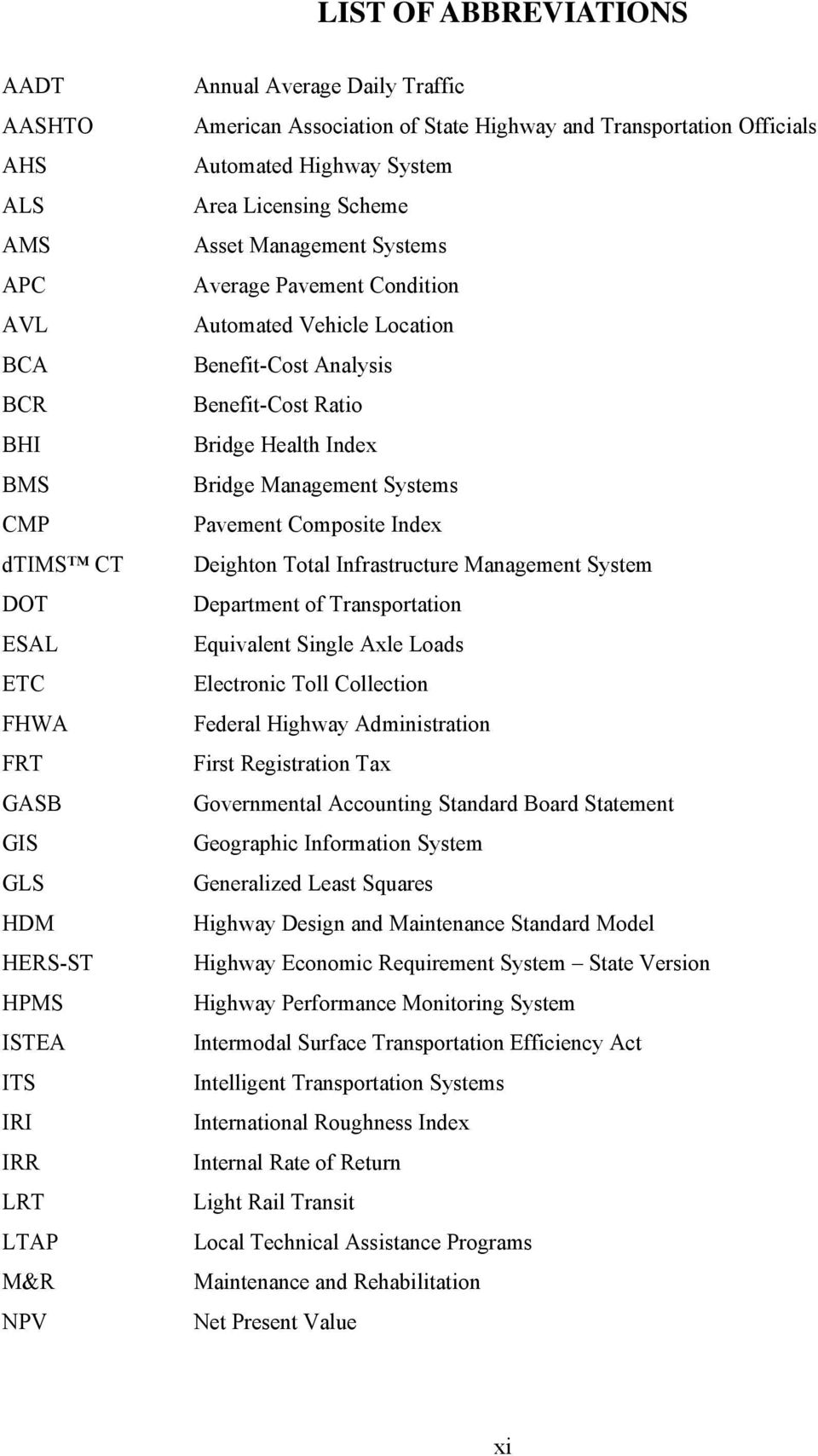 Benefit-Cost Analysis Benefit-Cost Ratio Bridge Health Index Bridge Management Systems Pavement Composite Index Deighton Total Infrastructure Management System Department of Transportation Equivalent