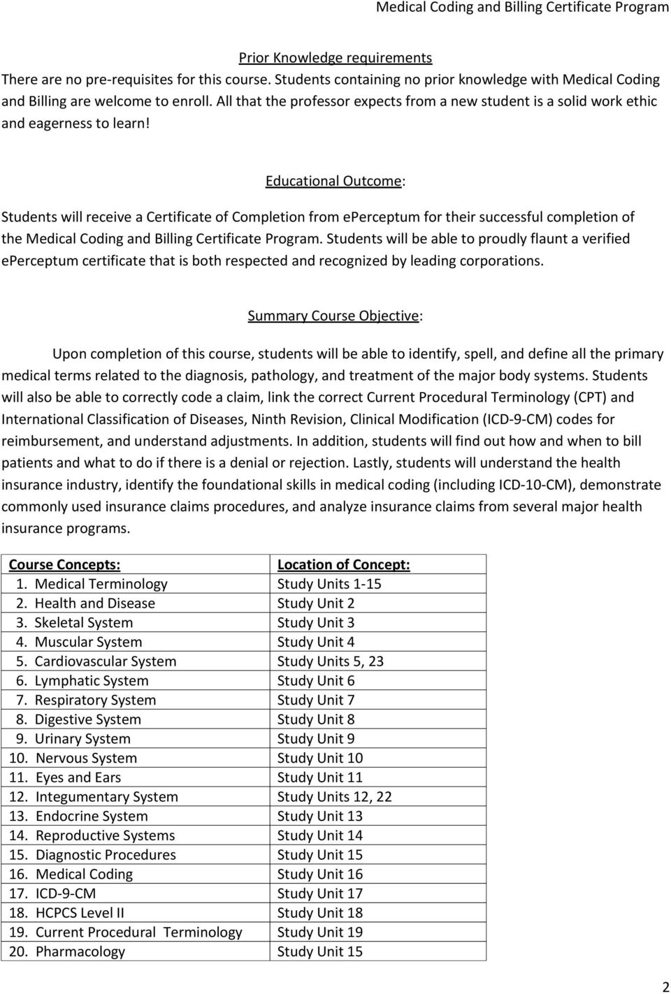 Medical Coding And Billing Specialist Certificate Program Pdf