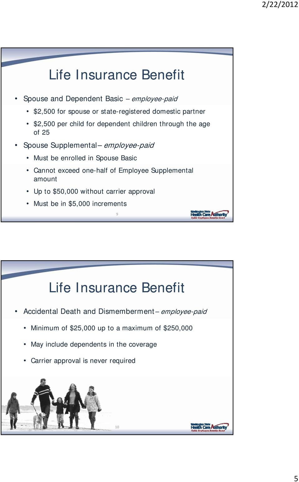 Supplemental amount Up to $50,000 without carrier approval Must be in $5,000 increments 9 Life Insurance Benefit Accidental Death and