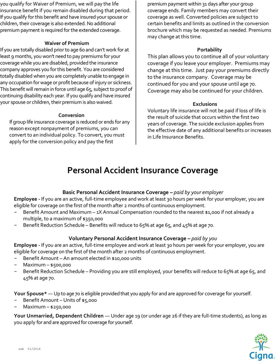 Waiver of Premium If you are totally disabled prior to age 60 and can't work for at least 9 months, you won't need to pay premiums for your coverage while you are disabled, provided the insurance