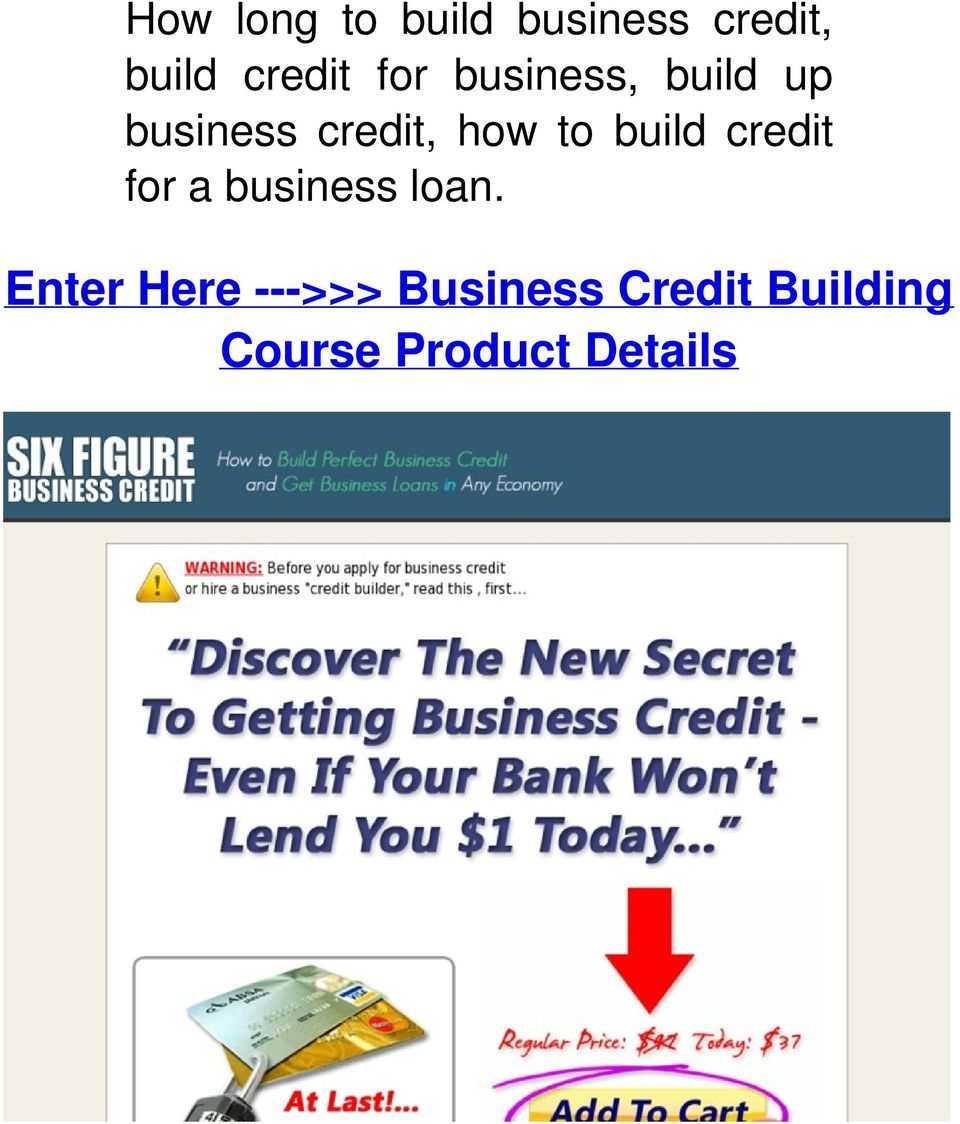 build credit for a business loan.