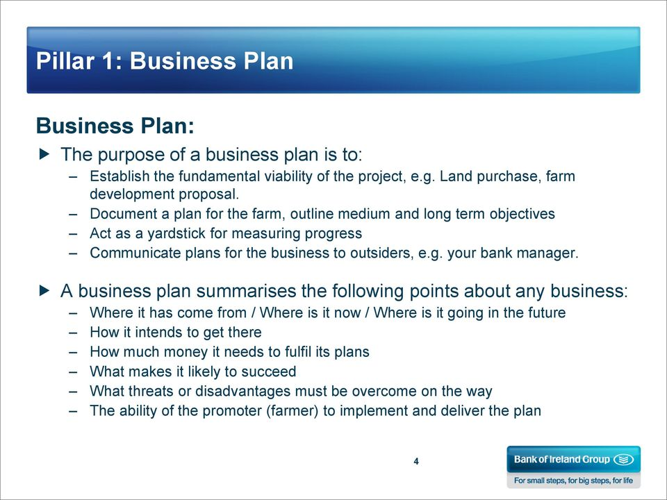 A business plan summarises the following points about any business: Where it has come from / Where is it now / Where is it going in the future How it intends to get there How much