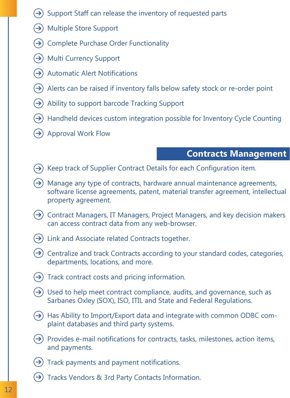 Management Keep track of Supplier Contract Details for each Configuration item.