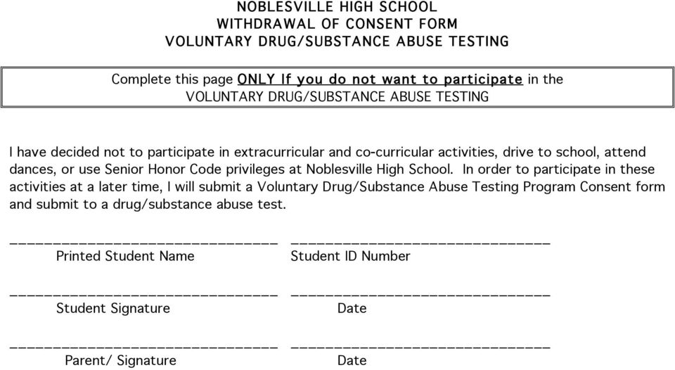 use Senior Honor Code privileges at Noblesville High School.