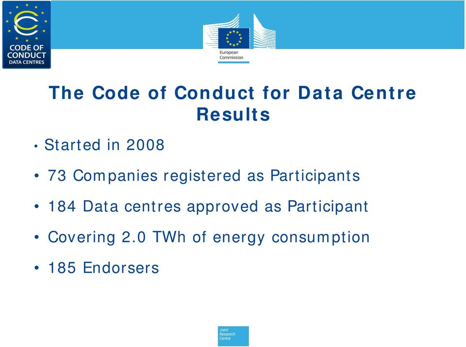 Participants 184 Data centres approved as