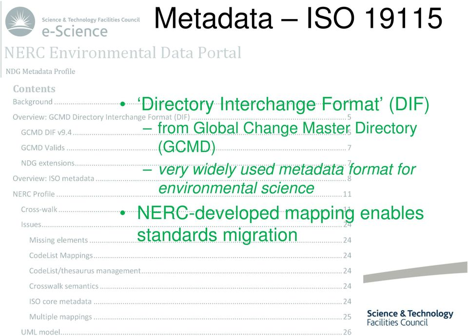 very widely used metadata format for environmental
