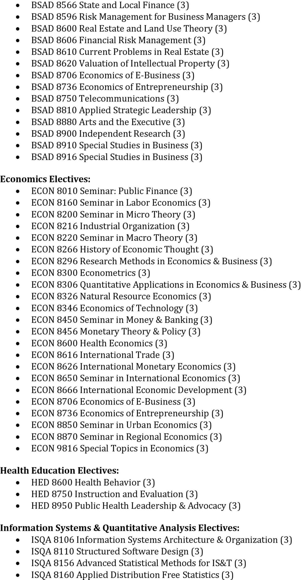 8810 Applied Strategic Leadership (3) BSAD 8880 Arts and the Executive (3) BSAD 8900 Independent Research (3) BSAD 8910 Special Studies in Business (3) BSAD 8916 Special Studies in Business (3)