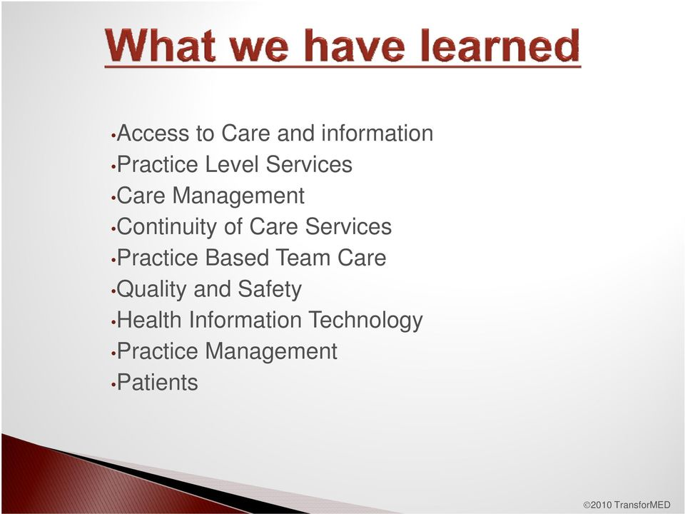 Services Practice Based Team Care Quality and