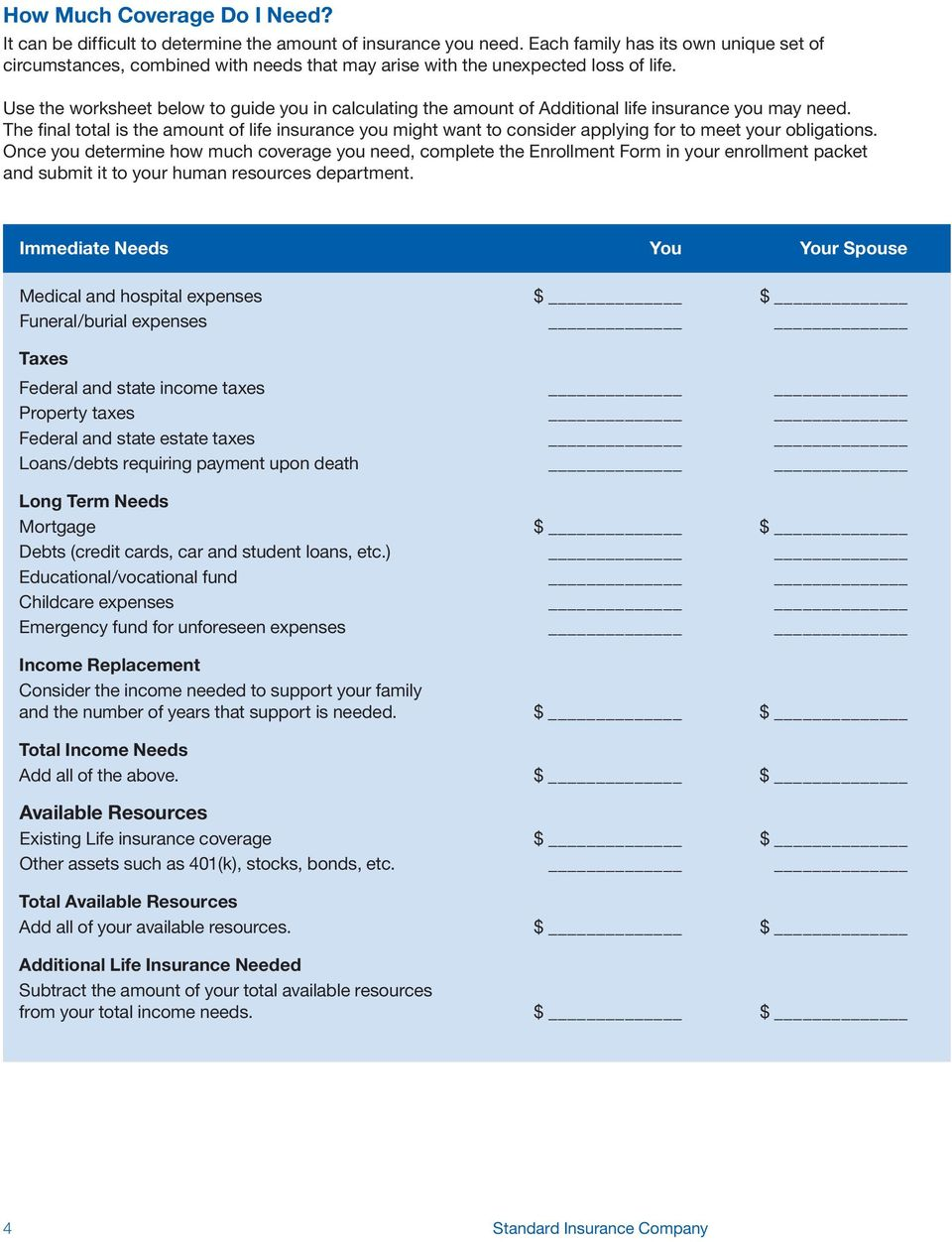 Use the worksheet below to guide you in calculating the amount of Additional life insurance you may need.