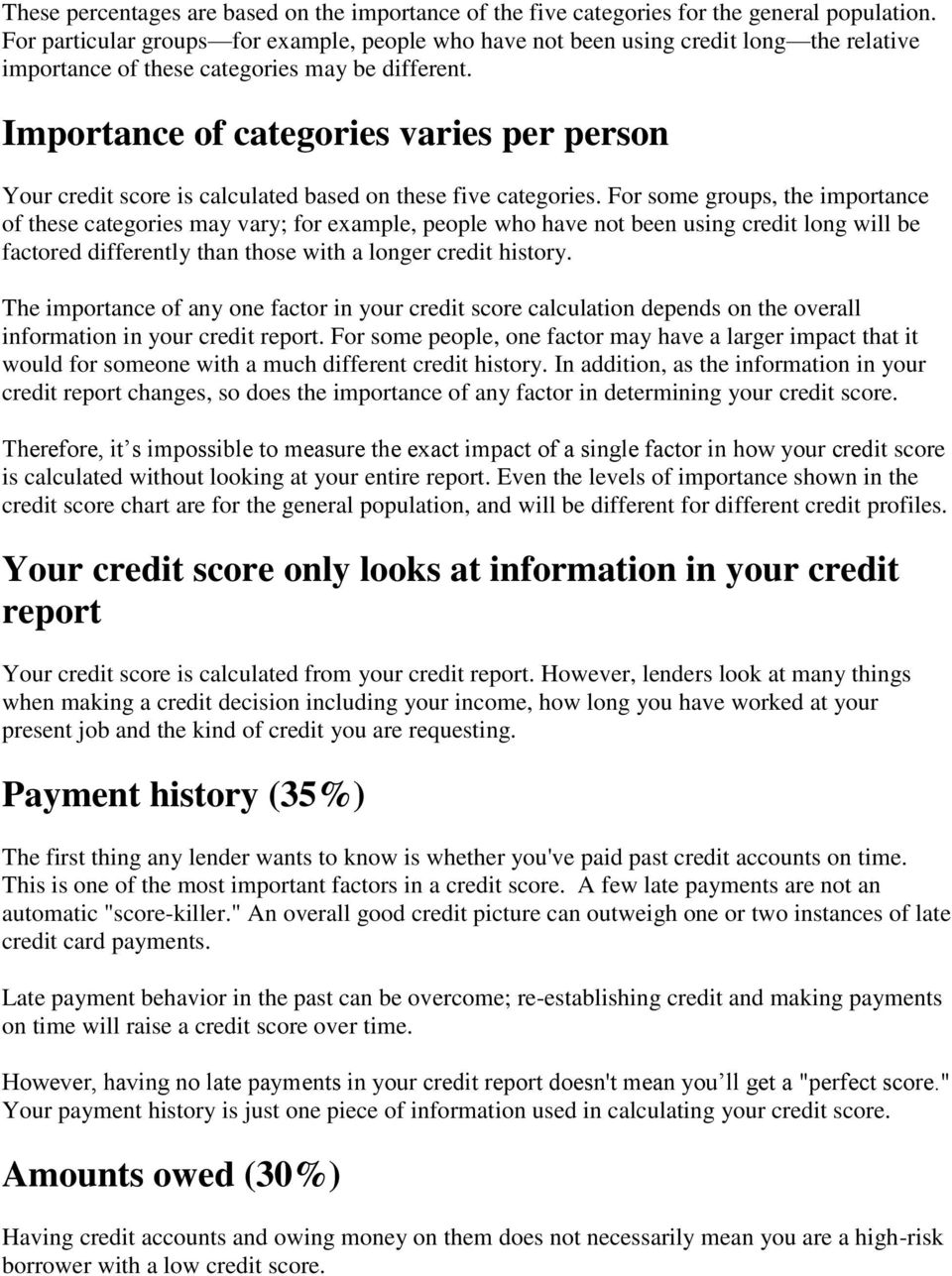 Importance of categories varies per person Your credit score is calculated based on these five categories.
