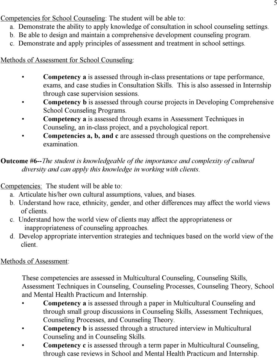 Methods of Assessment for School Counseling: Competency a is assessed through in class presentations or tape performance, exams, and case studies in Consultation Skills.