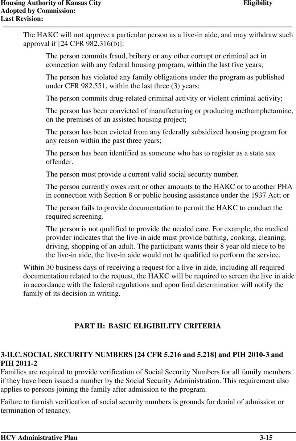 obligations under the program as published under CFR 982.