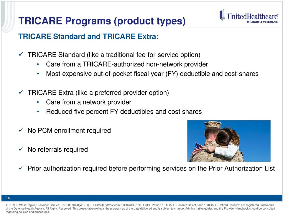 TRICARE Extra (like a preferred provider option) Care from a network provider Reduced five percent FY deductibles and cost shares