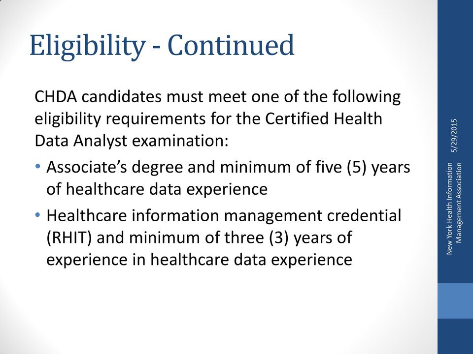 minimum of five (5) years of healthcare data experience Healthcare information