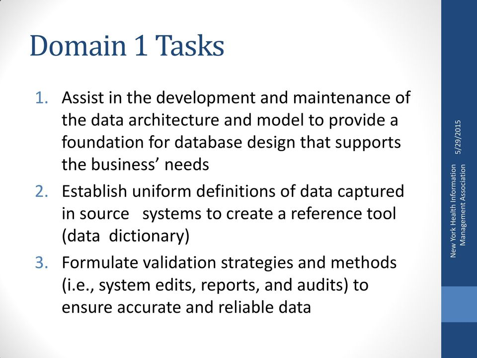 for database design that supports the business needs 2.