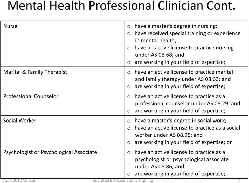 special training or experience in mental health; o have an active license to practice nursing under AS 08.