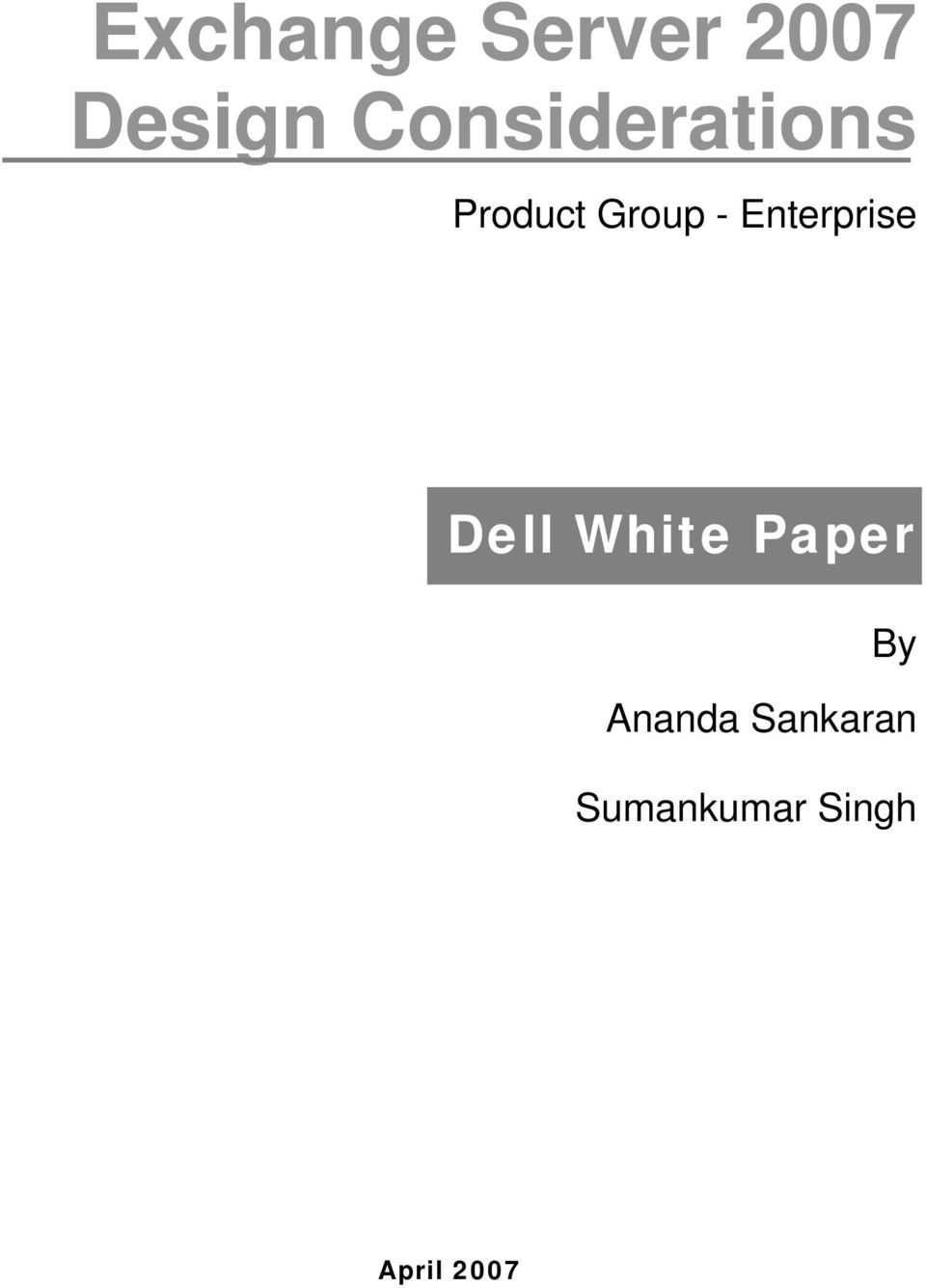 Enterprise Dell White Paper By