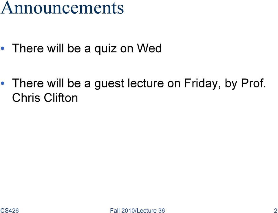 lecture on Friday, by Prof.