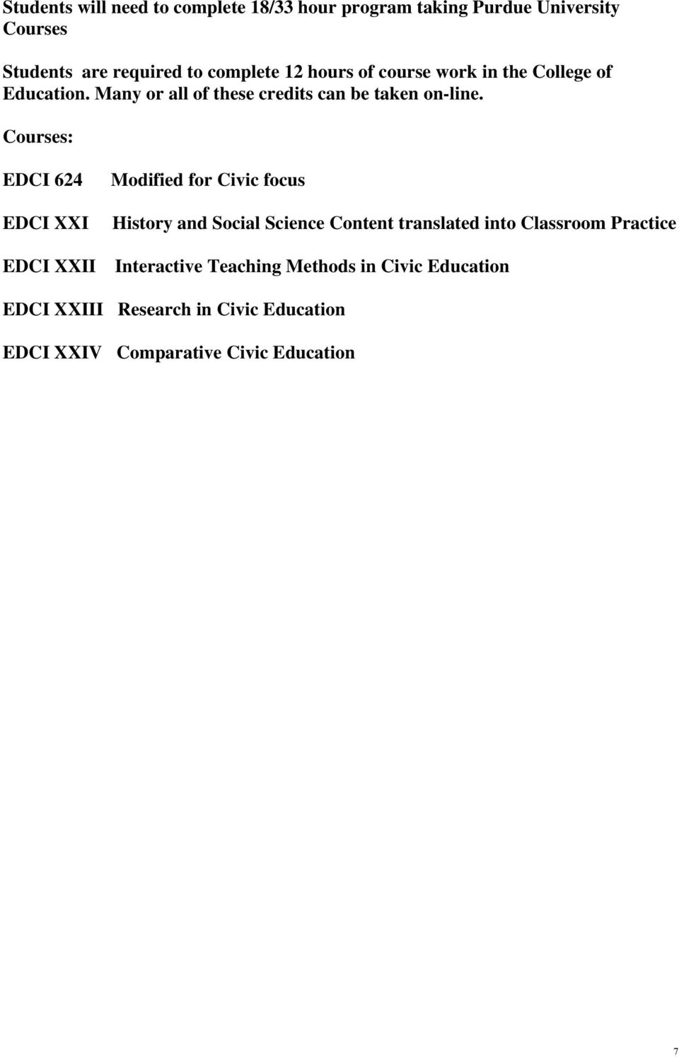 Courses: EDCI 624 EDCI XXI EDCI XXII Modified for Civic focus History and Social Science Content translated into