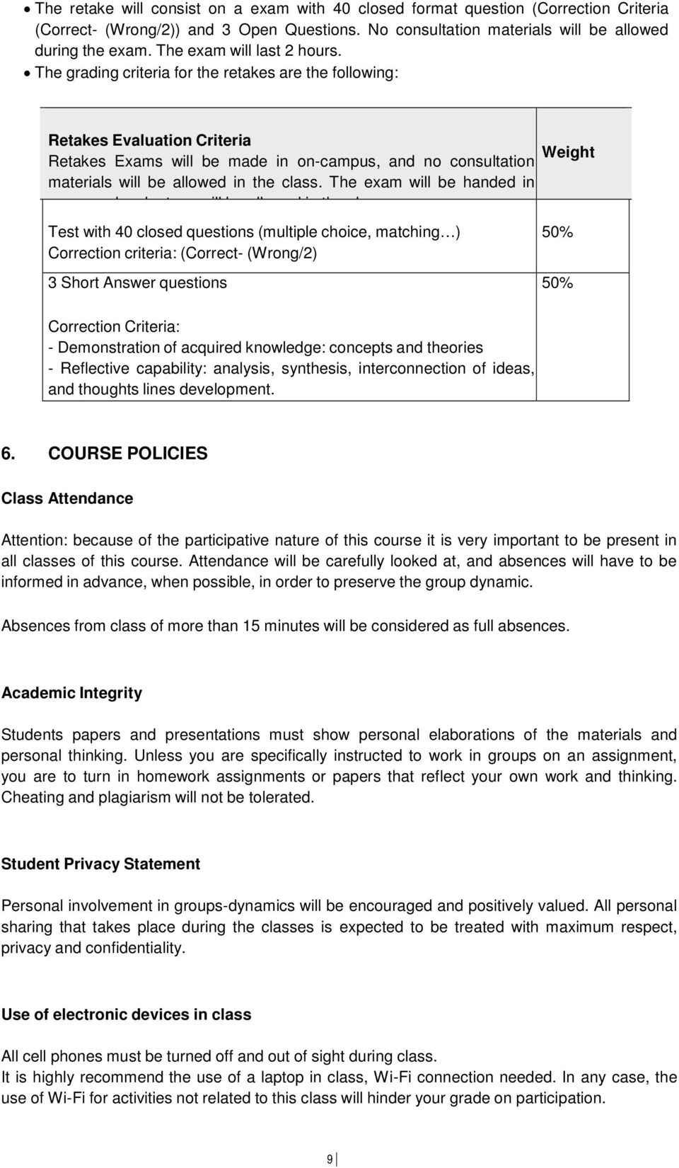 The grading criteria for the retakes are the following: Retakes Evaluation Criteria Retakes Exams will be made in on-campus, and no consultation materials will be allowed in the class.