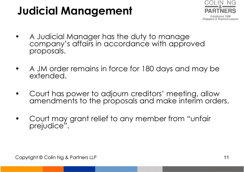 Court has power to adjourn creditors meeting, allow amendments to the proposals and make