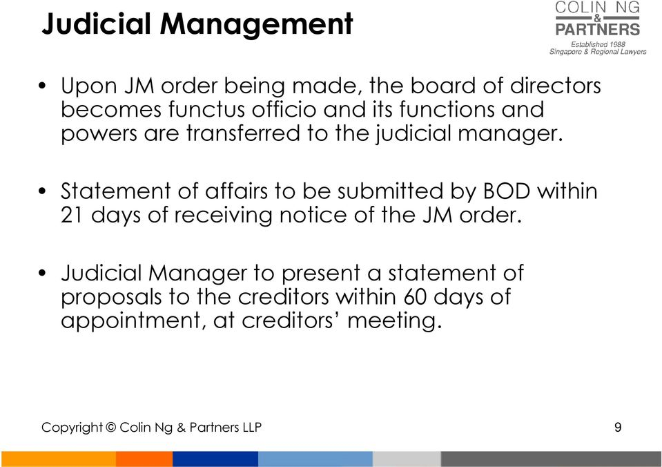 Statement of affairs to be submitted by BOD within 21 days of receiving notice of the JM order.