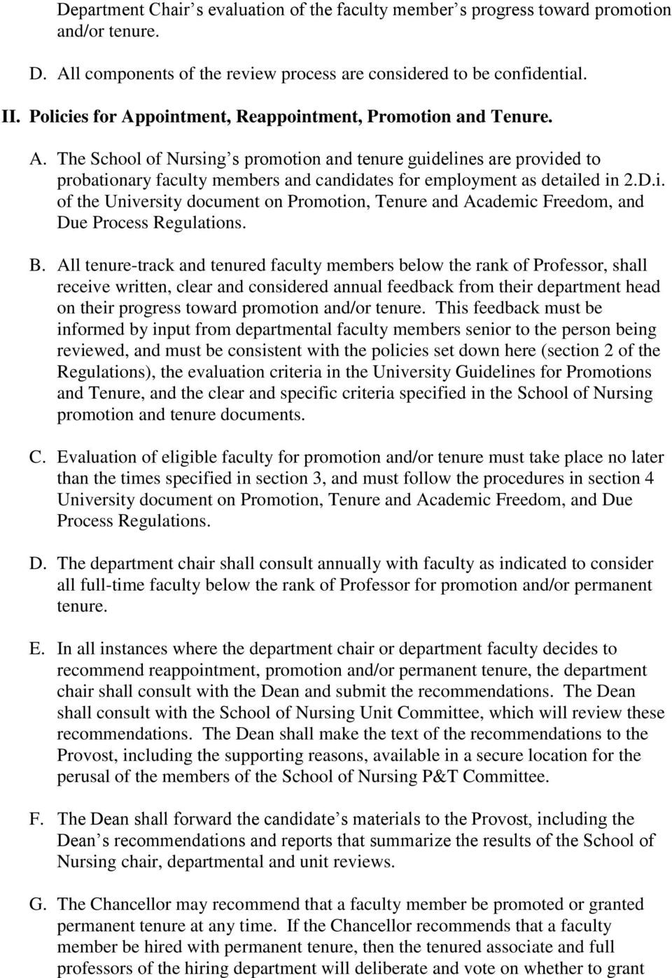 D.i. of the University document on Promotion, Tenure and Academic Freedom, and Due Process Regulations. B.