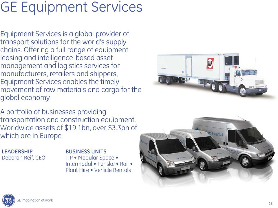 Equipment Services enables the timely movement of raw materials and cargo for the global economy A portfolio of businesses providing transportation and