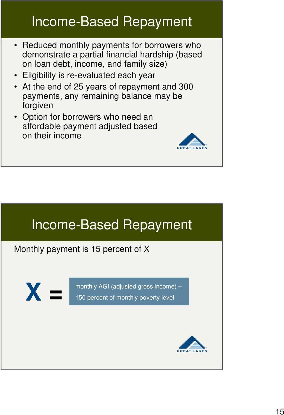 any remaining balance may be forgiven Option for borrowers who need an affordable payment adjusted based on their income