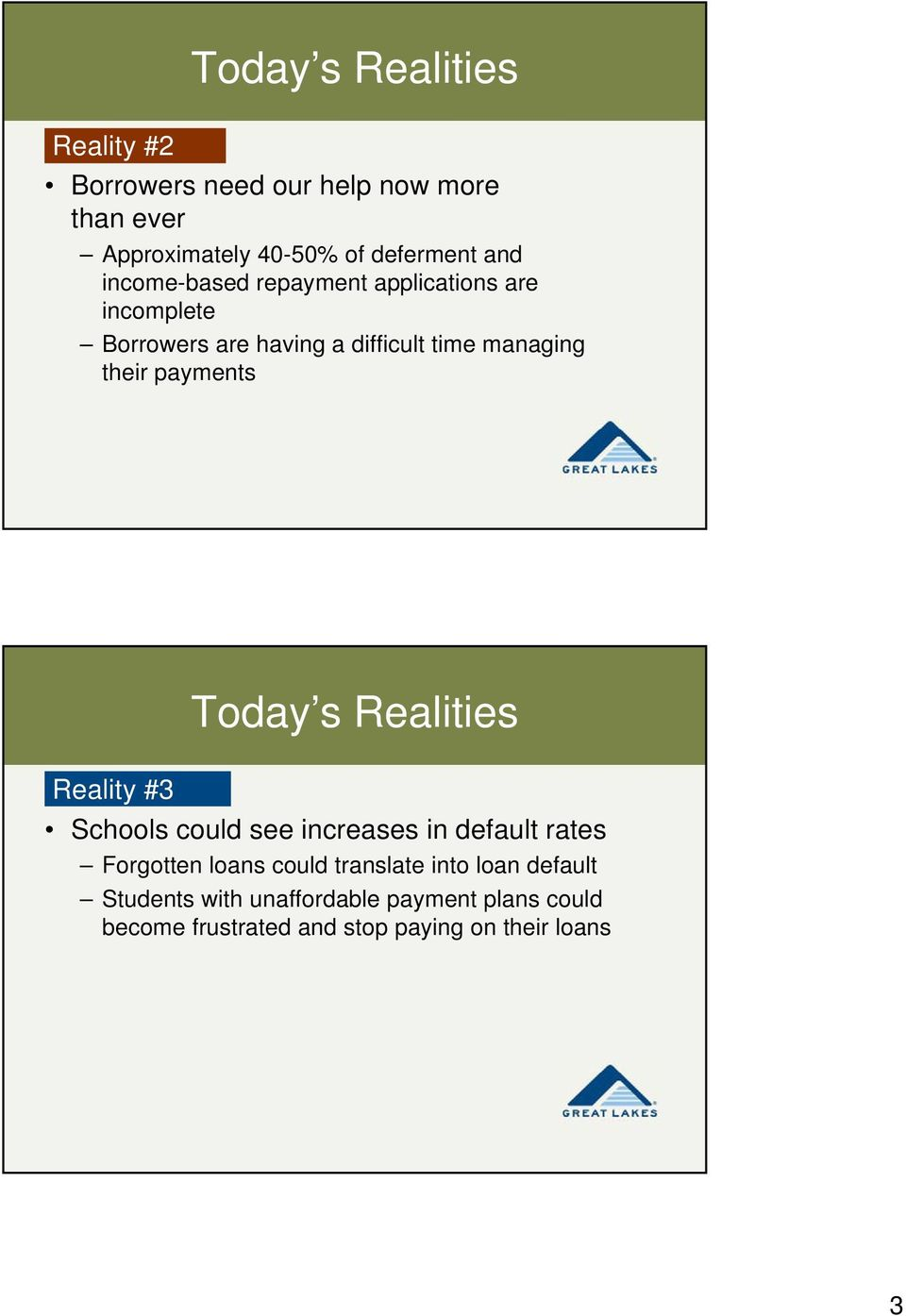 payments Today s Realities Reality #3 Schools could see increases in default rates Forgotten loans could
