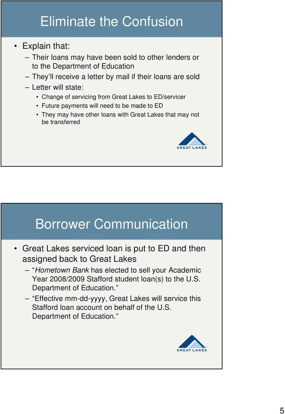 transferred Borrower Communication Great Lakes serviced loan is put to ED and then assigned back to Great Lakes Hometown Bank has elected to sell your Academic Year 2008/2009