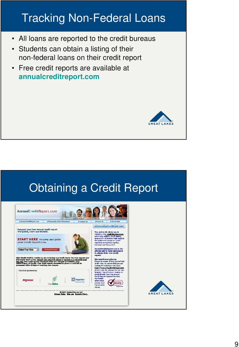 non-federal loans on their credit report Free credit