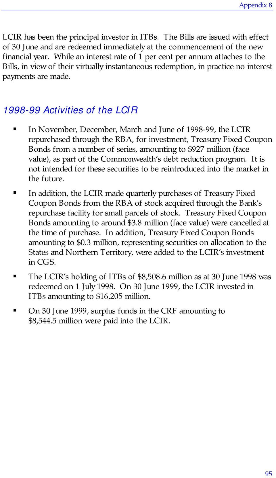 1998-99 Activities of the LCIR In November, December, March and June of 1998-99, the LCIR repurchased through the RBA, for investment, Treasury Fixed Coupon Bonds from a number of series, amounting