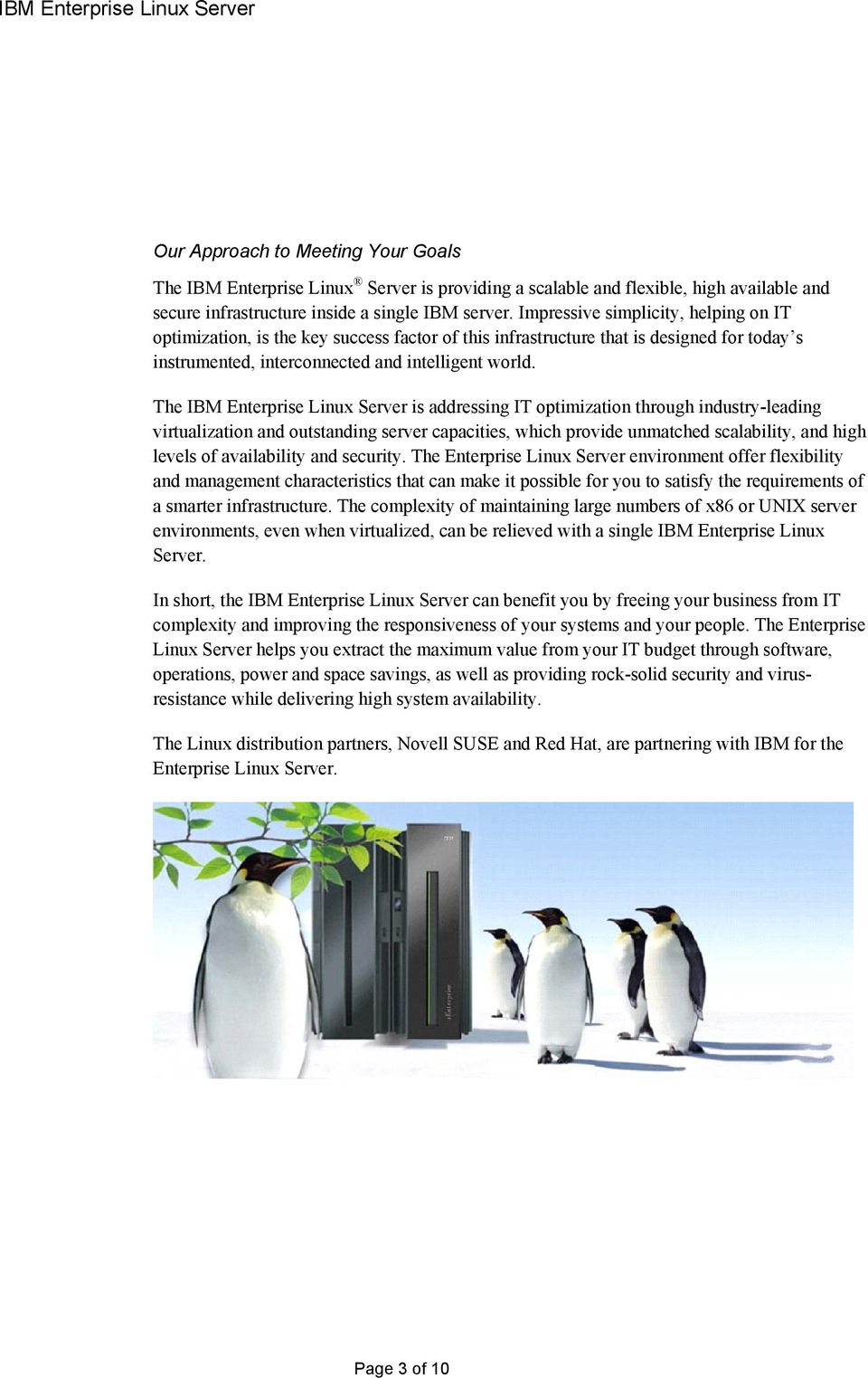 The IBM Enterprise Linux Server is addressing IT optimization through industry-leading virtualization and outstanding server capacities, which provide unmatched scalability, and high levels of
