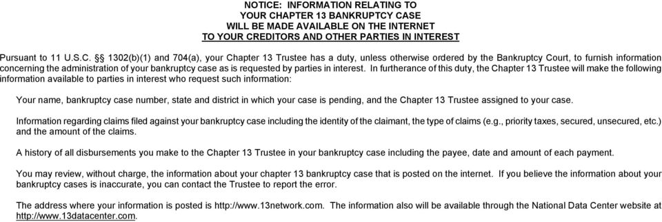 APTER 13 BANKRUPTCY