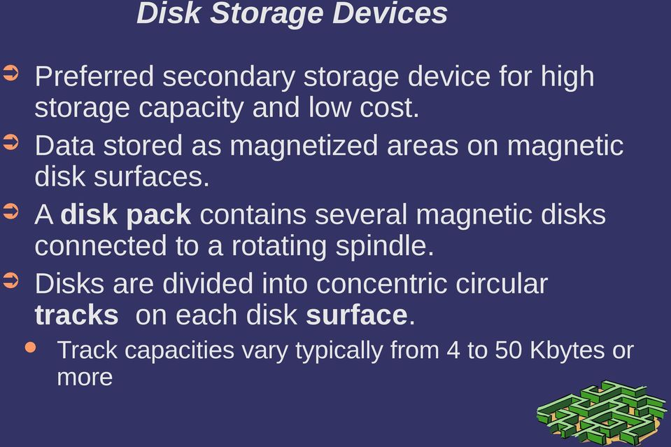 A disk pack contains several magnetic disks connected to a rotating spindle.