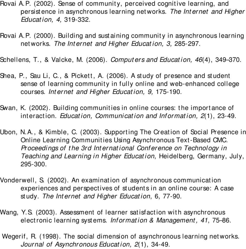 Shea, P., Sau Li, C., & Pickett, A. (2006). A study of presence and student sense of learning community in fully online and web-enhanced college courses. Internet and Higher Education, 9, 175-190.