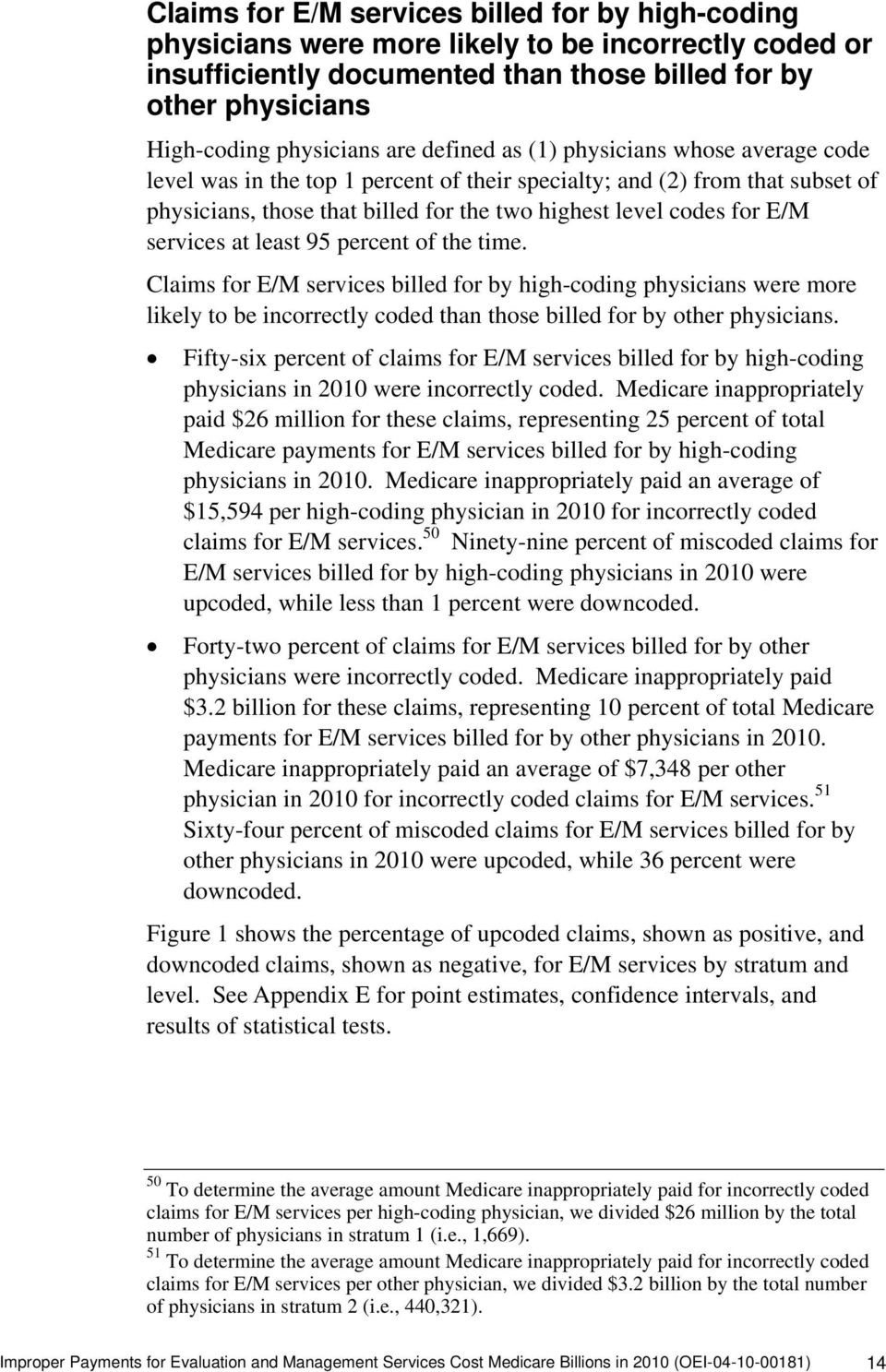 services at least 95 percent of the time. Claims for E/M services billed for by high-coding physicians were more likely to be incorrectly coded than those billed for by other physicians.