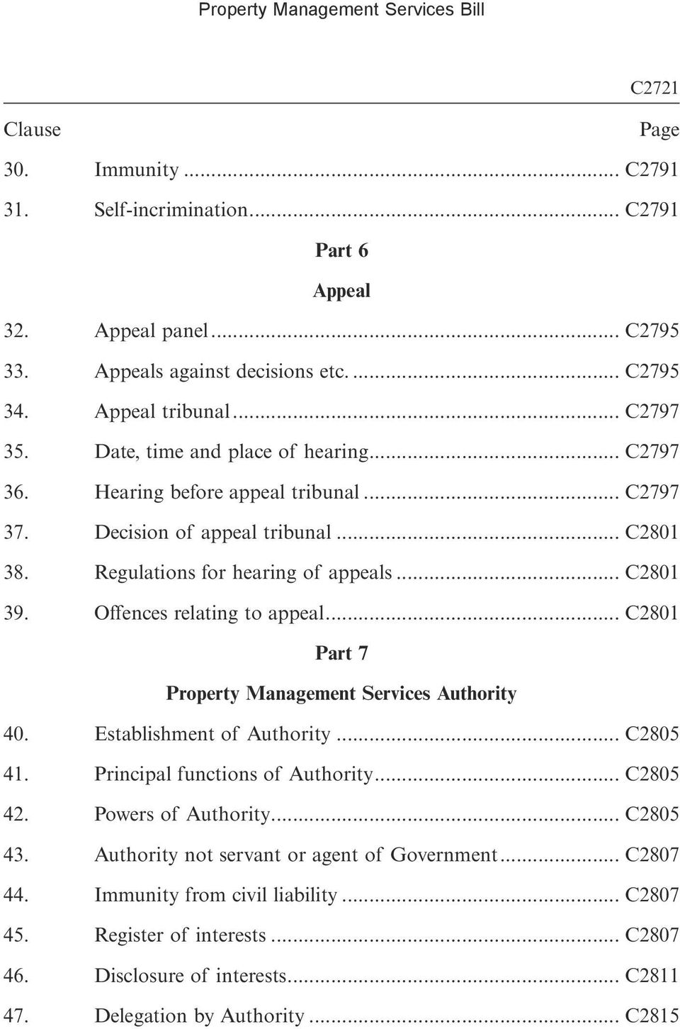Offences relating to appeal... C2801 Part 7 Property Management Services Authority 40. Establishment of Authority... C2805 41. Principal functions of Authority... C2805 42. Powers of Authority.