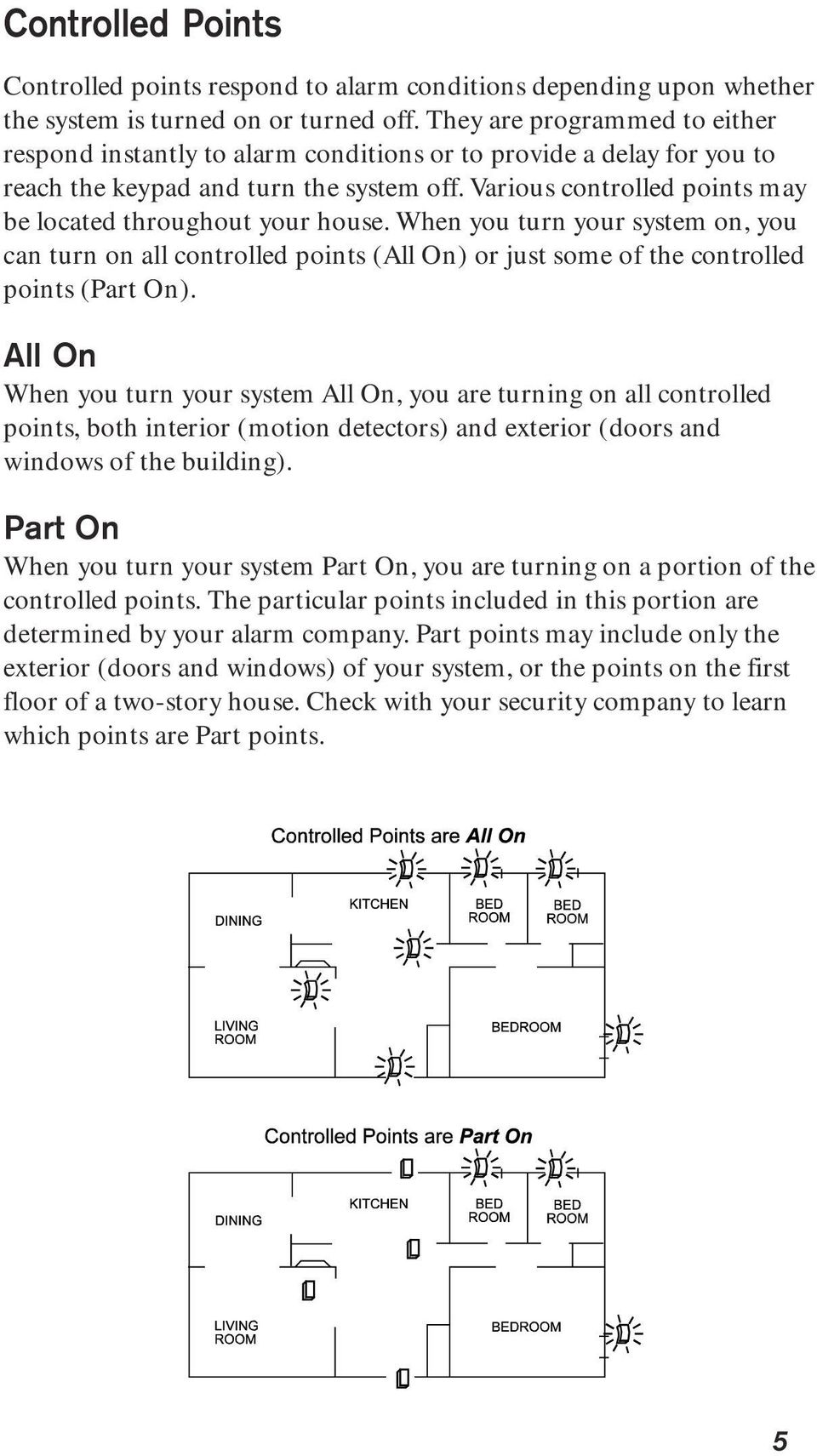 Various controlled points may be located throughout your house. When you turn your system on, you can turn on all controlled points (All On) or just some of the controlled points (Part On).