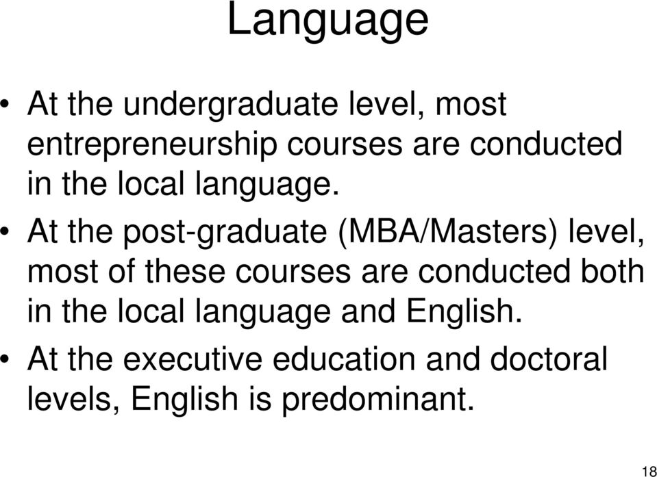 At the post-graduate (MBA/Masters) level, most of these courses are