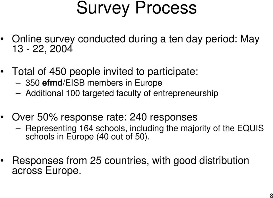 entrepreneurship Over 50% response rate: 240 responses Representing 164 schools, including the